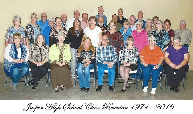 Pictured are, front row, left to right, Janet Tiller Atnip, Sally Beck Kahl, Elizabeth Roberts Boyd, Brenda Tubaugh Combs, Gerald Sample, teacher, Cynthia McClanahan Cruz, Kathie Bull and Donna Budd Osterdyk; second row, left to right, Carolyn Stockdale Smith, Becky Pugh Elliott, Linda Kay Greenlee Pugh, Patsy Smith Andrews, Betty Lambeth McElwain, Becky Knell Backerman, Villa Walker Wilmoth, Vina Walker Kahre, Suzanne McCune Russell and Ann McClanahan Shields; third row, left to right, Tim Atnip, Lynn Achey, Tony Elliott, Bob Evans, Phillip Brand, Kenneth Marti, Don Holliday, Sandra Moore Harris, Joyce Stebler Moser and Billy Greene; back row, left to right, Bob Gastel, Mark Frerer, Russell Selvey and Vicky McGinis Dingman.