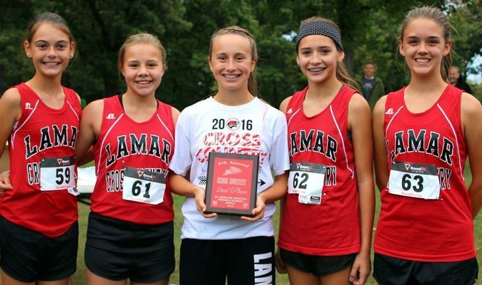 Lamar Middle School girls cross country team are, left to right, Jessica Coble, Alexis Parker, Kara Morey, Josie Cabrales and Brianna Davison.