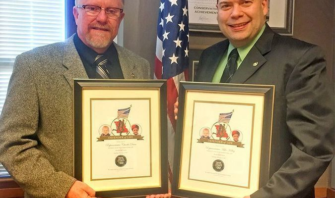 State Representative Charlie Davis, R-Webb City, left, and State Representative Mike Kelley, R-Lamar, received the patriot and statesman for life award at the Midwest Rally for Life.