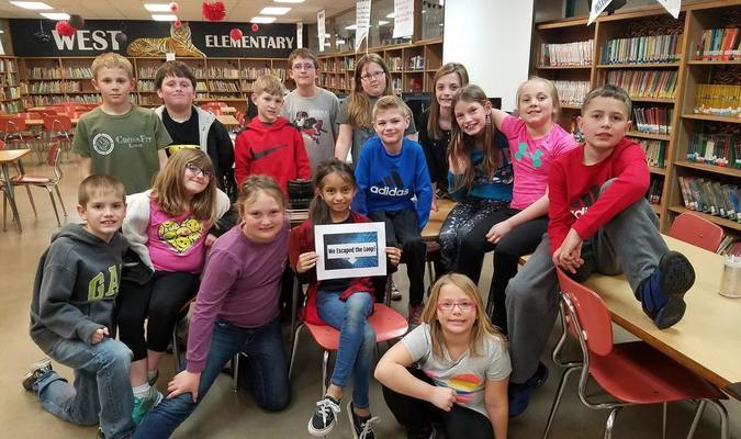 The West Elementary Tech Club held its final meeting recently. Every Monday, since January 16, students have met to learn about technology related areas they were interested in, such as coding and forced perspective photography. Students in the picture have just completed a Breakout Edu box about coding. They had to solve multiple puzzles and work as a team to complete the challenge
