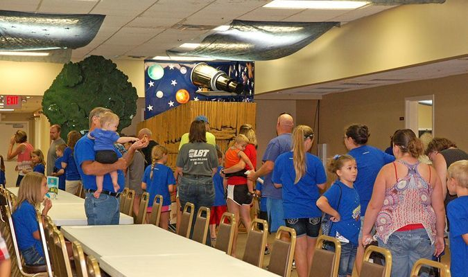 """Lamar Democrat/Melody Metzger Following the family night presentation of First Baptist Church's VBS """"Galactic Starveyors"""", those attending were treated to cookies and punch."""