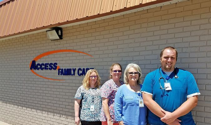 Access Family Care staff at the Lamar clinic are, left to right, Medical Assistant Kerenza Hazen, LPN Lindsay Loveall, Nurse Practitioner Margaret Hart and Office Manager Christopher Lee.