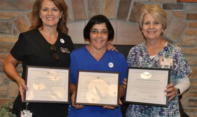 Barton County Memorial Hospital employees that were honored on July 21, for being Missouri Hospital Heroes, were, left to right, Mary Jo Mincks with Social Services, Kathy Blanchard with Nutrition Services and Marlys Buckner with Nursing. Congratulations to all three on this honor. Anyone that would like to nominate someone can visit https://missourihealthmatters.com/mohospitals/honor-a-hero.