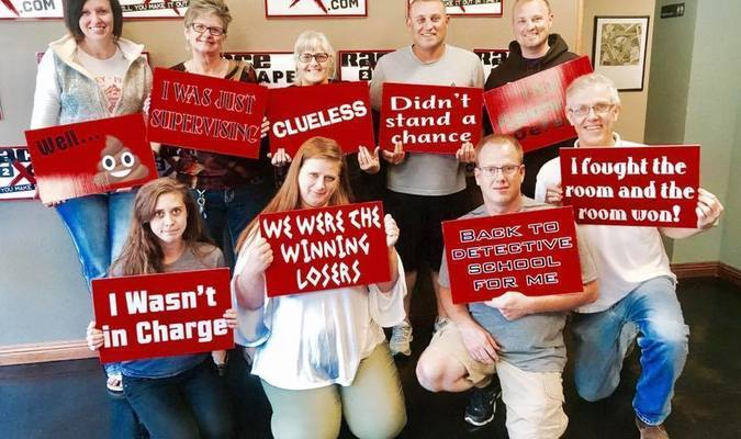 Those giving it their best shot in the escape room were, back row, left to right, Elisha Morey, Kathy Jenkins, Melody Metzger, Zach Morey and Jerod Morey; front row, left to right, Allison Jenkins, Heidi Johnson, Robert Lawrence and Steve Miller. Also at the retreat, but having to leave before the adventure in the escape room, was Piper Stewart.