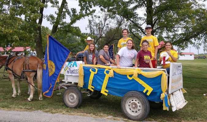 Photo courtesy of Willis Strong The Liberal FFA took second place in the float division of the Liberal Prairie Day parade held Saturday, Sept. 16.