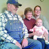 """Four generations were together on Saturday, Feb. 3, in Neosho, to celebrate Savannah Cole's six month birthday. Pictured are, left to right, Everett """"Skip"""" Felkner III, Retha (Felkner) Squires, Savannah Cole and Melissa (Felkner) Cole."""
