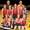 """The Lamar Lady fourth grade Tigers finished their season strong by bringing home a first place finish at the Black and Gold Tournament held in Diamond on March 3. They captured the gold by defeating Diamond 22-18 in the first game and College Heights 29-15 in the second game. In the final game, they defeated Greenfield 23-14. The girls' season consisted of five tournaments, playing in Nevada, El Dorado Springs, Carthage and Diamond. Coach Kent Morey stated, """"The girls showed great improvement this year and we had a really fun season. I'm looking forward to these players being a successful part of our Lady Tiger basketball programs in the future."""" Pictured, front row left to right are Kinsley Potter, Ryley Moore, Rowan Parks and Laryn Ferris. Second row, Lydia Nolting, Emma Potter, Maylee Rawlings, Brenna Morey and Jaxson Parks. Back row, Coaches Kent Morey and Austin Parks. (Not pictured is Katelyn Smith)."""