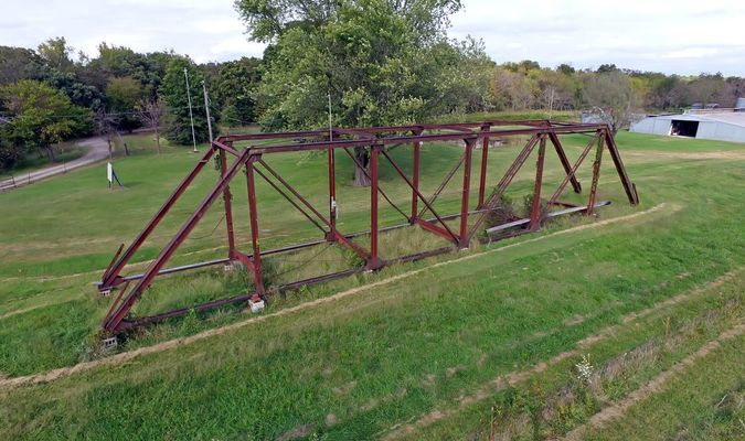 The 1926 bridge was moved to the Dille property.
