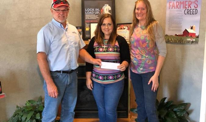 Pictured, left to right, are MFA Oil Lockwood Manager Steve Lasater; Dade County Youth Fair Board President Michelle Kleeman and Dade County Youth Fair Board Secretary/Treasurer Kristin Kostik.
