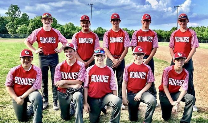 The Yard Dawgs were 13 & Under tournament champions at the Sandlot on May 19. The road to the championship included victories over the Miller Cardinals 8-0, the MO Naturals 4-2 and the Panthers 11-0. Pictured, left to right, are: (front row) Ryan Davis, Matt Boehne, Cameron Peak, Jonah Sparks and Eric Briggs; (back row) Payton Morrow, Damien Woods, Cooper Hamblin, Austin Wilkerson and Nate Smith. The Yard Dawgs are coached by Jason Clemensen and Chris Morrow.