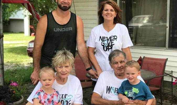 Jess Searles celebrated his 91st birthday, along with Father's Day, with members of his family. Pictured are, standing, Isaac Marti and Mary Jo Mincks; sitting, Clara and Jess Searles, holding Elaina Marti and Stetson Marti.