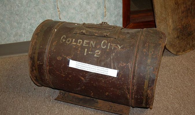 Lamar Democrat/Melody Metzger The City of Golden City donated this metal ballot drum to the museum. Someone in the museum at the same time as myself said they remembered when it was used.