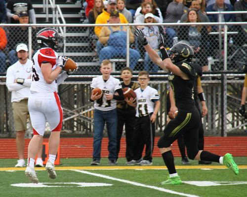 Lamar tight end No. 26 Wyatt Hull hauls in this pass for a first down on Lamar's opening drive. The Tigers took an early 7-0 lead, but less than 1 1/2 minutes later Lathrop answered with a touchdown of their own and went on to defeat the Tigers 28-21.