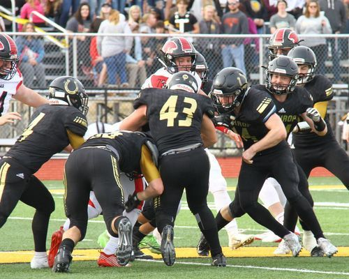 The Tiger offense found little running room in action against Lathrop. The Mule defense was extremely fast and swarmed to the ball.