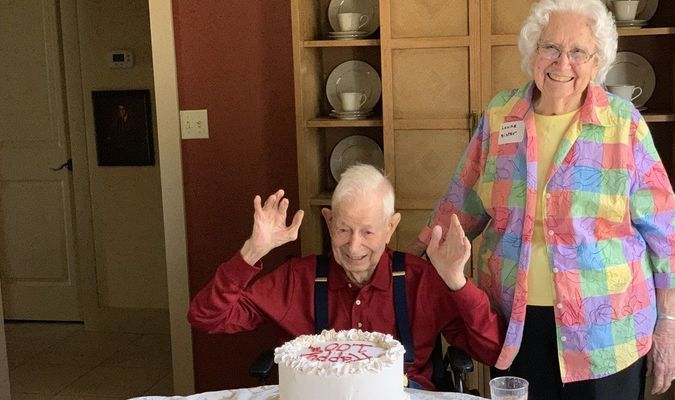 Keith Selvey, who turned 100 on March 4, is pictured with his sister, Louise Caruthers, who was able to attends his party in Kerrville, Texas.