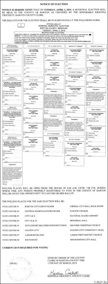 2019: 3-20 & 27 BC Clerk-April Ballot