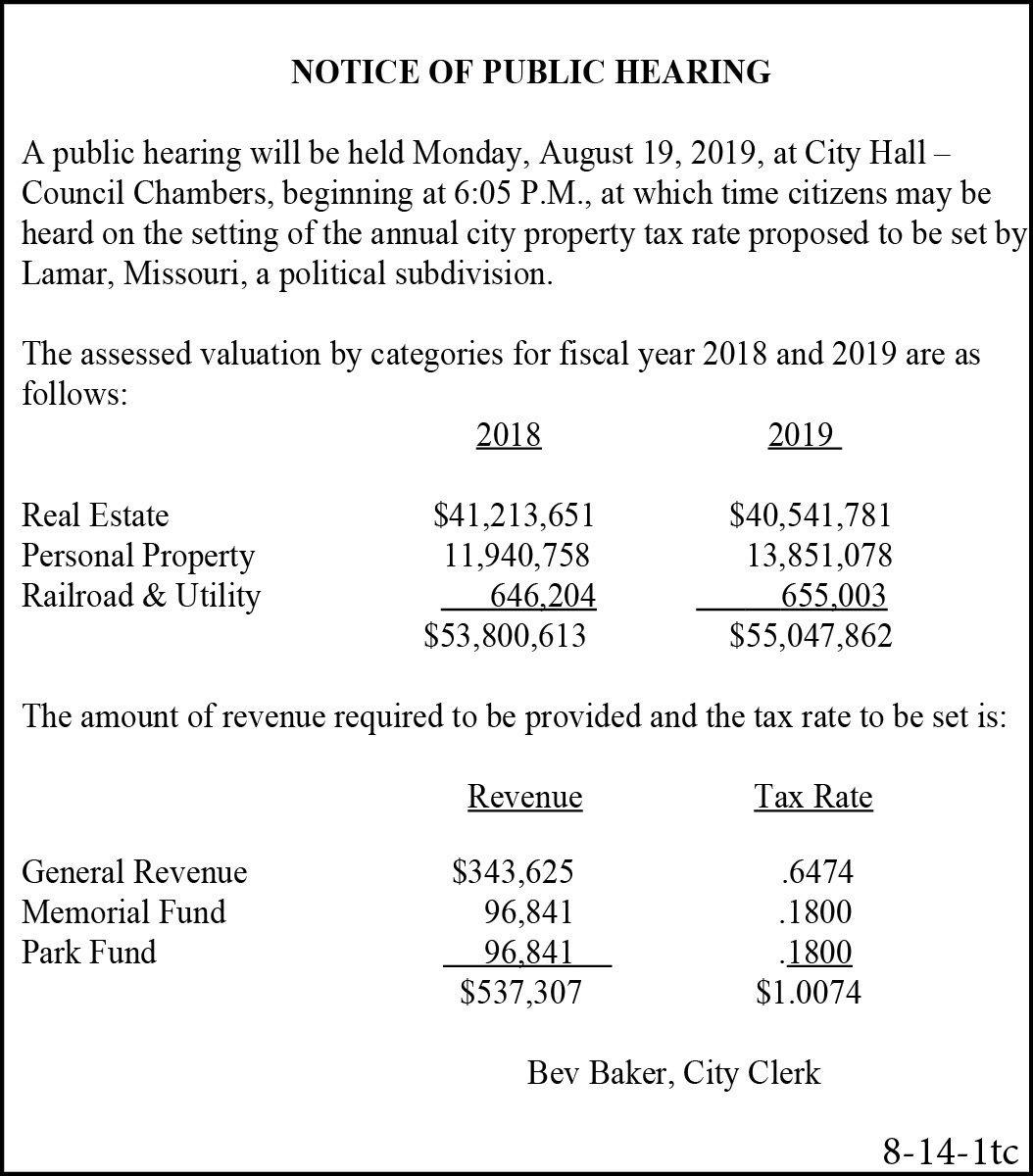 2019: 8-14 City Of Lamar-Tax Levy