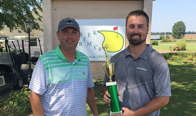 Landon Maberry, right, and Jeremy Fowler, left, tied with a score of 71 at the First Annual J-Dawg Open Championship, held September 7. Following sudden death, Maberry came out on top with a birdie on the hole and was crowned champion.