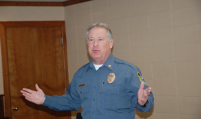 Lamar Democrat/Richard Cooper Lamar Chief of Police Ken Bergman described the close relationship between schools and law enforcement as he spoke before the Barton County retired teachers.