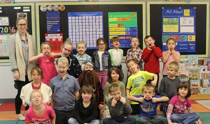 Lamar Democrat/Morgan Brisbin Mrs. Johnson's kindergarten class dressed up for the 100th Day of School.