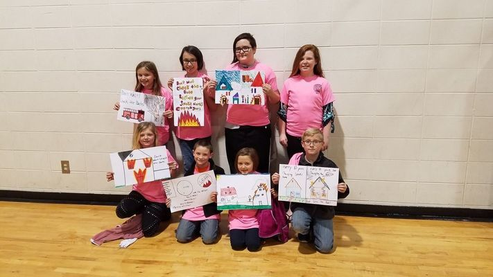 Top left to right: Abby Wheeler, Maddie Wheeler, Meghan Kirkwood, 3rd Place State Level Winner Macey Shatzer Bottom left to right: Natalie Dreiseward, Chase Roehl, Raygen Crum, Zackary Conboy