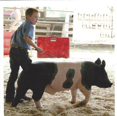 Connor Eckman showed several pigs at the 2017 Monroe County Fair. One animal was purchased by Dr. Handlin and Leslie.