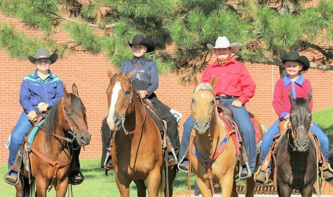 Left to right Kelsie Wilson on Fooler of Holliday, Mo.  Carlee Long on Niles of Madison, Mo.  Trista Trivette on Cody of Holliday, Mo.  Kaelynn Bartels on Itsy of Madison, Mo.