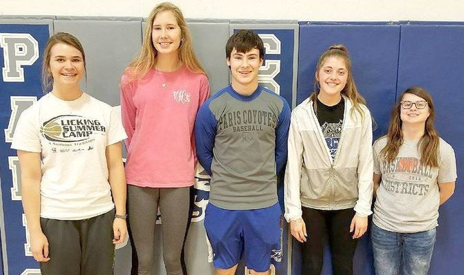 Paris Coyotes/Lady Coyotes named to the All Lewis and Clark Conference include, left to right: Drew Lockhart, First Team; Tori Hamilton, Third Team; Brett Miller, Second Team; Allison Moore, First Team; and Grace Peak, Third Team. Congratulations to all the Paris R-II players on their post season awards and recognition!