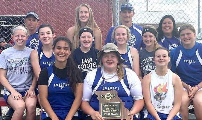 2018 Paris Lady Coyote Varsity Track Team wins District gold! Left to right - Marriko Williams, Hannah Mitchell, Grace Peak. Second row - Aly Francis, Delaney Miller, Sydnee Price, Kaylee Mitchell, Nicole Skinner, Brianna Hamilton. Third row - Doug Buie, Victoria Hamilton, Coach Gary Crusha, Miyuki Williams. Not pictured - Andrea Unterbrink. See related article on page 11