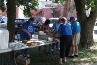 Volunteers prepping