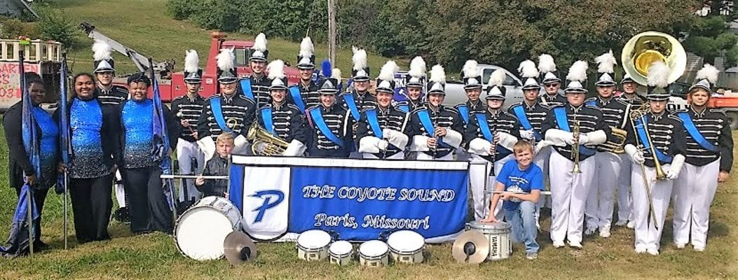 The Coyote Sound poses for a picture before the Elsberry Fall Festival Parade. Photo submitted by Jared Shulse.