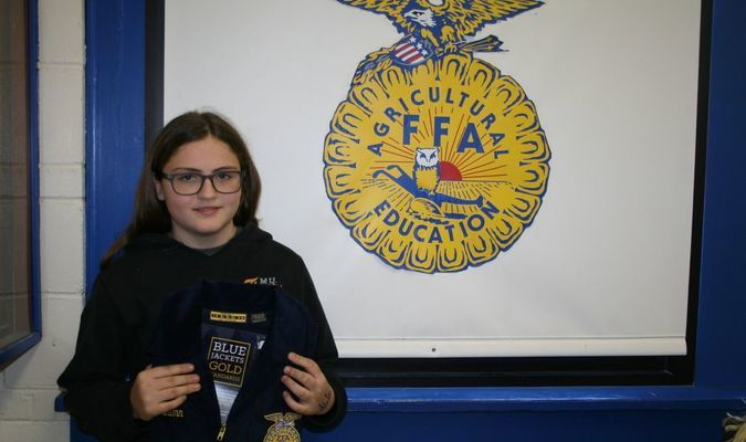 Rose Quinn pictured with her awarded FFA Jacket