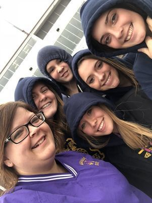 Madison FFA Memers take time for a selfie from the Winners Circle at the Indiana Downs. Miss Fields, Lexi Wolfe, Katie Thomas, Abbie Thomas, Annika Salmons and Reid Epperson