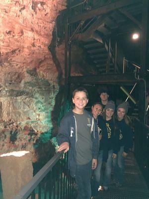 Madison FFA Members from inside Indiana Caverns. Reid Epperson, Lexi Wolfe, Abbie Thomas, Katie Thomas, Dalton Graham