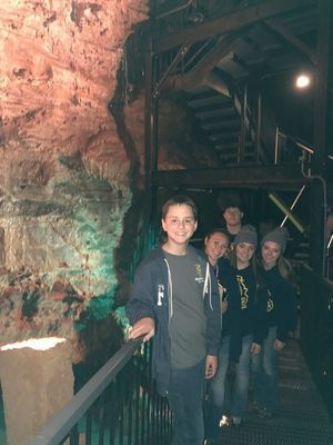Madison FFA Members from inside Indiana Caverns. Reid Epperson, Lexi Wolfe, Abbie Thomas, Katie Thomas, Dalton Graham