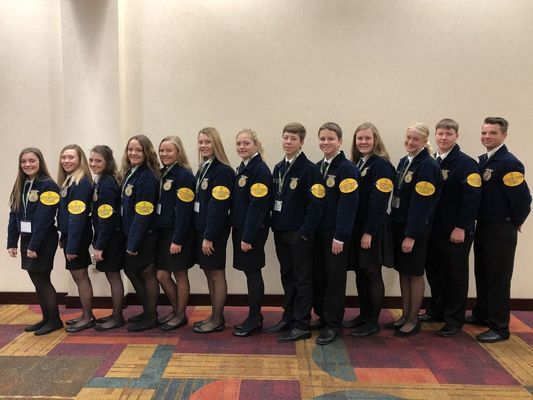 Madison FFA Members took a bit of there convention time to give back to the organization that gives them so much. (L-R) Abbie Thomas, Lexi Wolfe, Katie Thomas, Peyton Hook, Miranda Breid, Rylle Thomas, Rebecca Youse, Joe O'Bannon, Reid Epperson, Annika Salmons, Hunter Stockhorst, Dalton Graham, Tyler Buck
