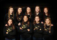 Girls Varsity- Front Row-Lila Yager, Jada Summers, Bailee Hays, Clara Minor Standing-Savannah Utterback, Lauren Youngblood, Riley Quinn, Hallie Dyer, Bailey Hays