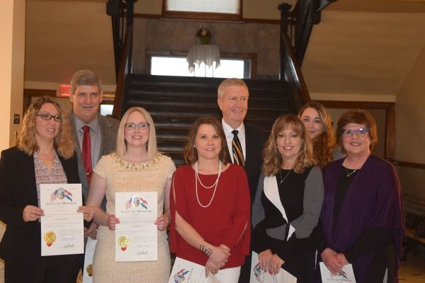 L to R – Circuit Clerk Heather Wheeler, Presiding Commissioner Mike Minor, County Clerk Christina Buie, Collector of Revenue Chrissy Graupman, Associate Circuit Judge Michael Wilson, County Treasurer Shelia Jurgesmeyer, Prosecuting Attorney Tally Kendrick and Recorder of Deeds Lori Decker