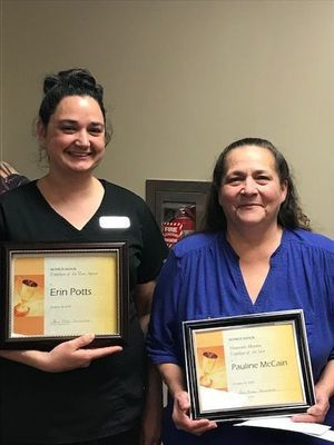 Erin Potts (left) Employee of the Year and Pauline McCain (right) Honorable Mention. Photo submitted by Michelle Chapman