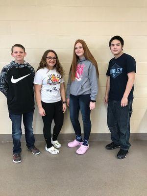 Freshmen (from left to right) Connor O Bannon, Peyton Hook, Jayden McClendon, Braden Braithwaite. Photo courtesy of Madison C-3
