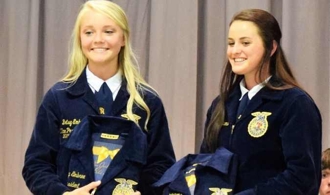 FFA Officers Betsy Embree and Britany Williams