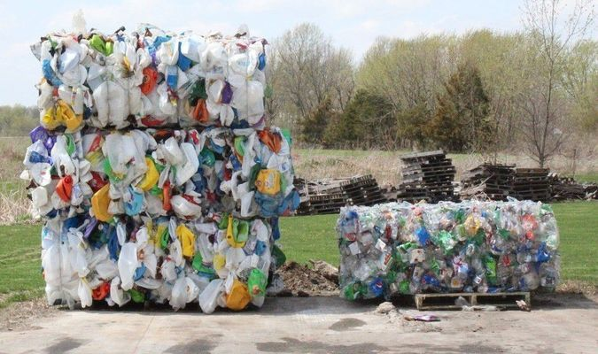 Last bales of plastic materials accepted by the Monroe City Sheltered Workshop.
