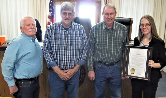Pictured, from left, are Commissioner Ron Staggs, Presiding Commissioner Mike Minor, NECAC Board Member and Commissioner Mike Whelan and NECAC Monroe County Service Coordinator Maggie Middleton.