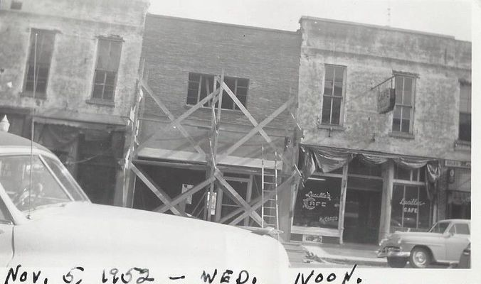 Photo shows Miller's Bar with scaffolding in place