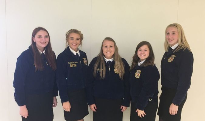 Officers attending LEAD Conf. Treasurer Staci Stokes, President Maddie Breid, Reporter Danielle Herrin, Secretary Ashlyn Peterson & Historian Taylor Young.  Madison FFA was represented by Chapter President Maddie Breid, Secretary Ashlyn Peterson, Treasurer Staci Stokes, Reporter Danielle Herrin, Historian Taylor Young and Advisor Miss Fields.