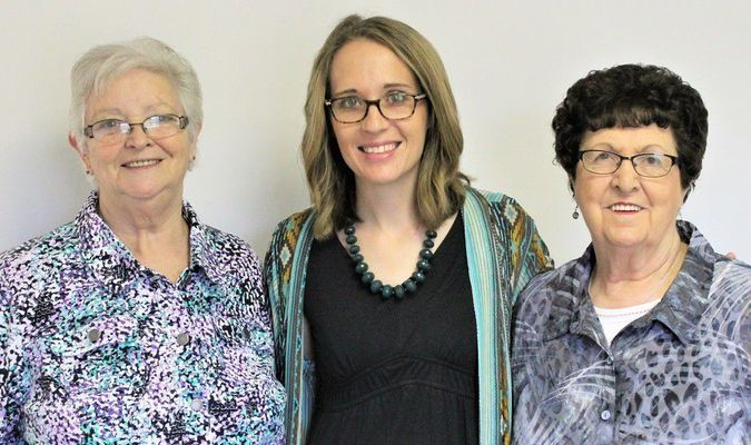 Monroe County NECAC Service Office Board Members with County Service Coordinator. Left to right: Peggy Hultz of Madison; Maggie Middleton; and Maxine Jones of Holliday.Photo taken by Robin Gregg during Open House held May 15, 2019.