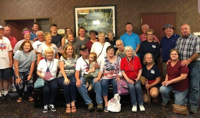 25 family and friends of Pat welcomed him home from his honor flight June 18