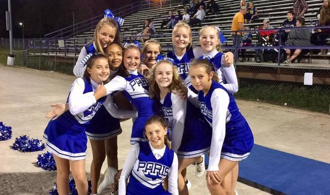 Paris Junior High cheerleaders: Front: Emma Morgan; middle, from left: Makayla Hayes, Morghan Crain, Kaylee Mitchell, Bryanna Conboy; back, from left: Jasmine Locke, Jasmine Rucker, Carlee Long, Charlie Vitt, Sydney Price