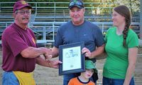 Madison Lions Club recognized the late Charles Hayhurst family. Son James Hayhurst received the plaque of his Dad's behalf. Photo by Robin Gregg.