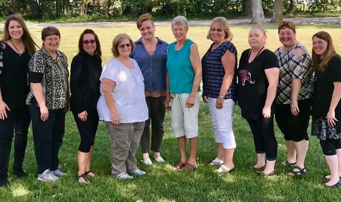 Pictured Left to Right: Amy Davis (Administrator), Carol Hall (3rd & 4th), Kelli Henry (Pre-K4), Lois Olivas (Kindergarten), Amy Shulse (9th & 10th), Vaneda Orth (Custodian), Gay Bergthold (1st & 2nd), Rebecca Smith (Pre-K3), Jody Young (Aftercare), & Halee Shults (Director).